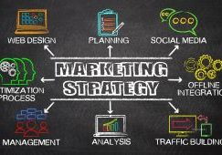 Marketing Strategy concept diagram with related keywords and elements on blackboard